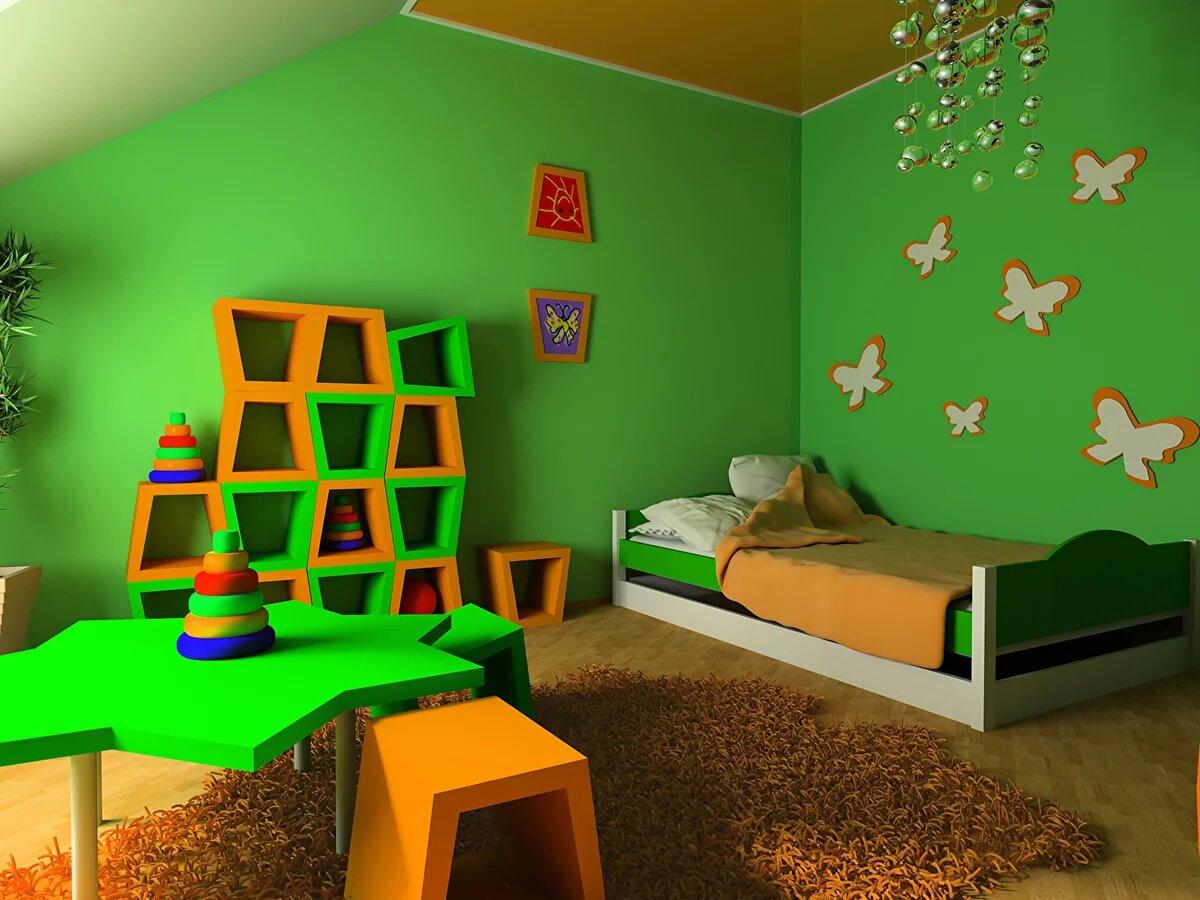 Крашенные стены в детской