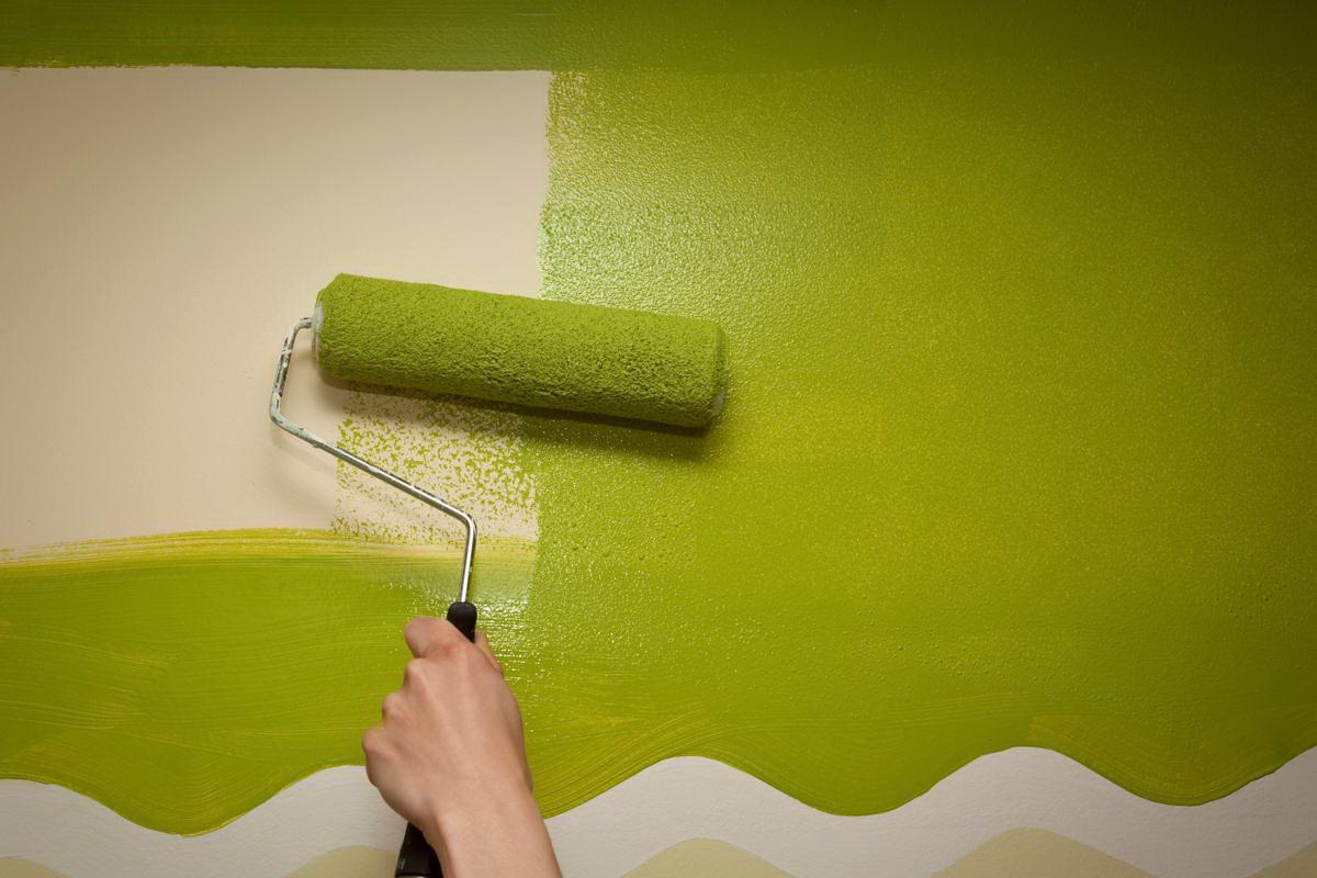 Нанесение зеленой краски