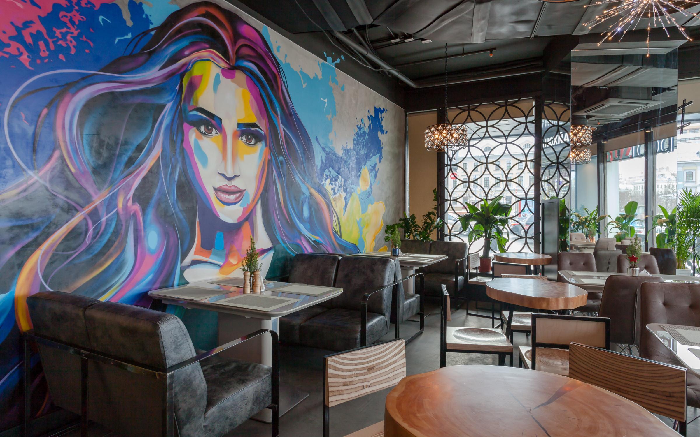 Фото росписи стен в кафе