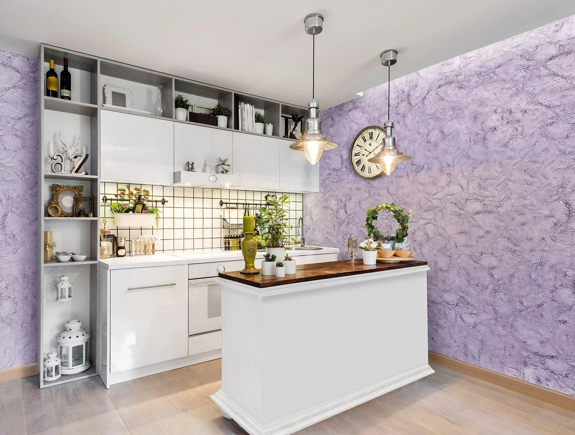 Фото жидких обоев на кухне