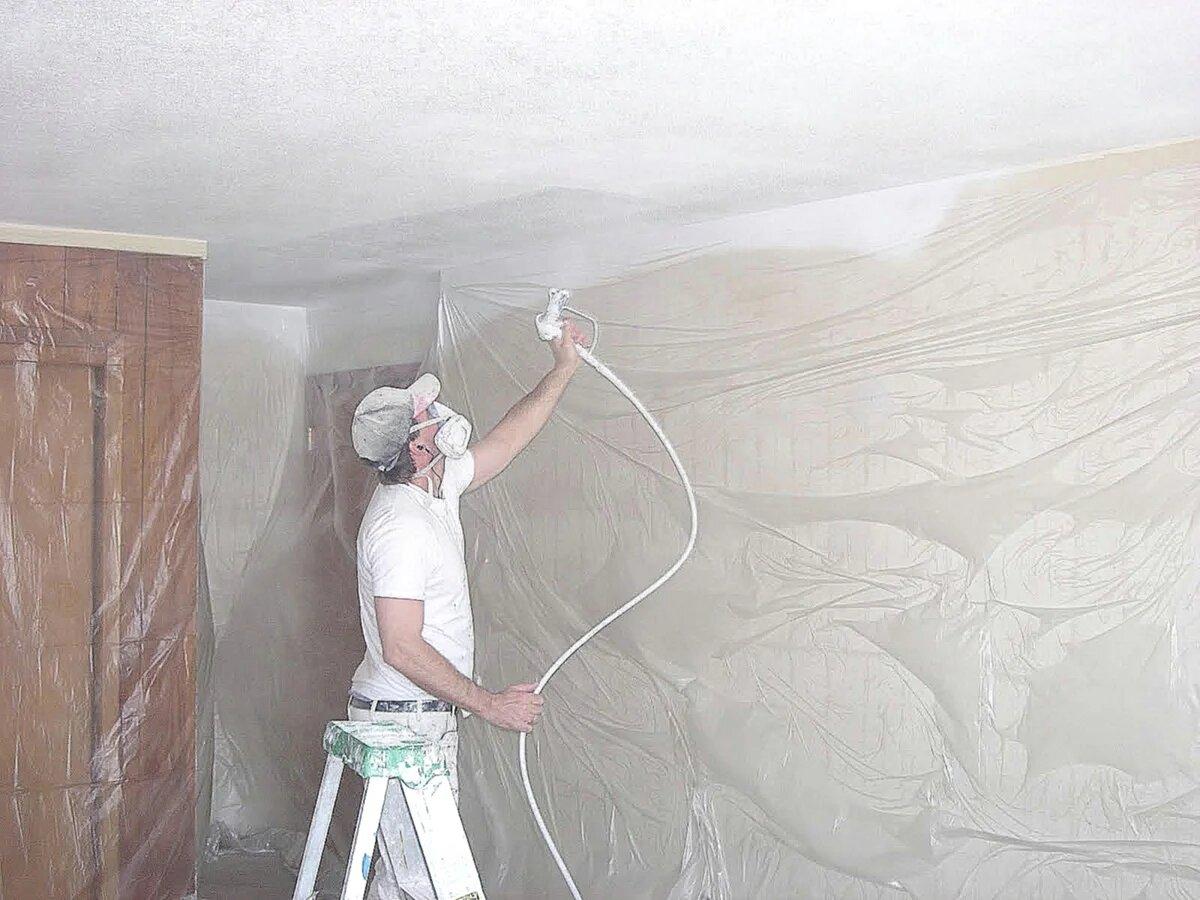 Побелка потолка в респираторе