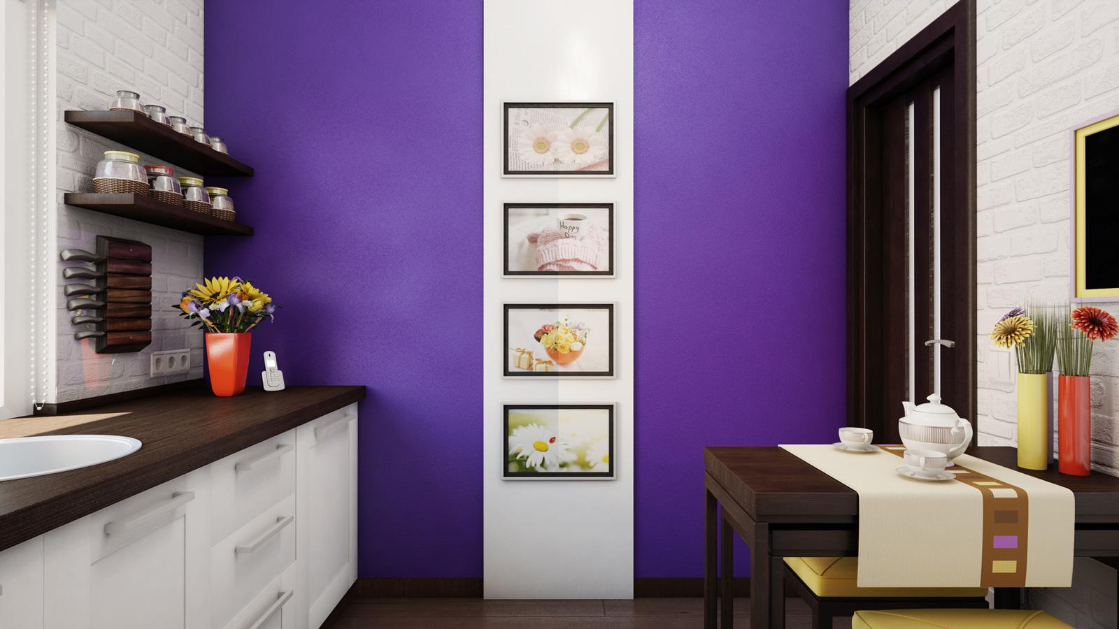 Крашенная стена на кухне