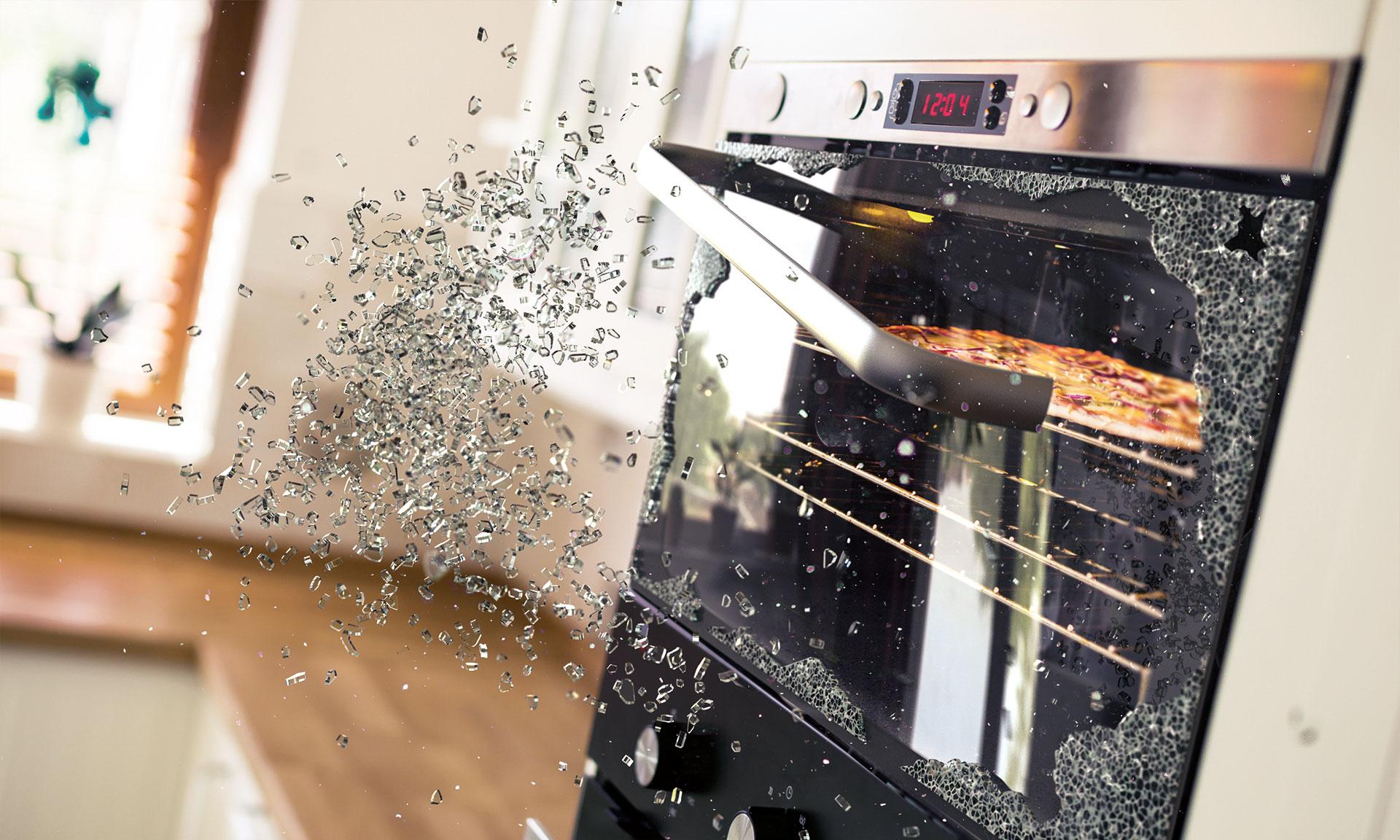 Разбитое стекло в духовке