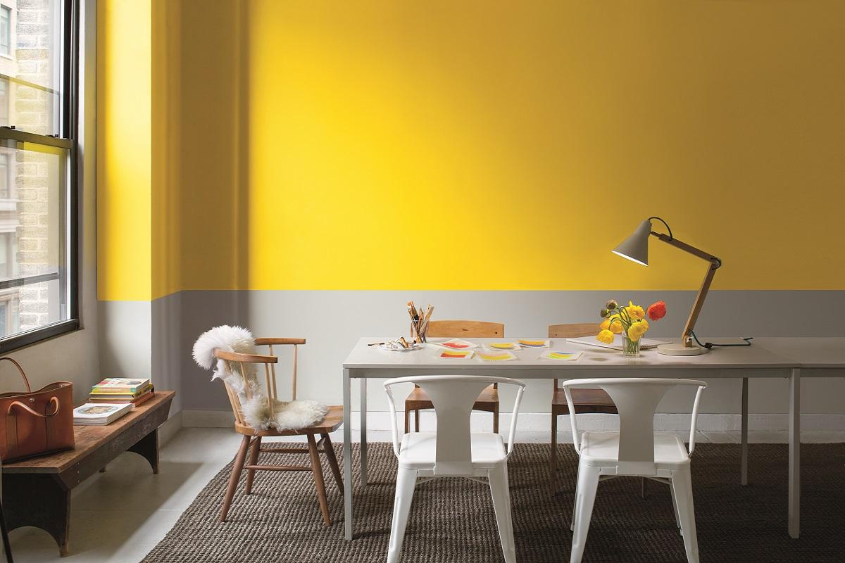 Горизонтальное разделение стен краской
