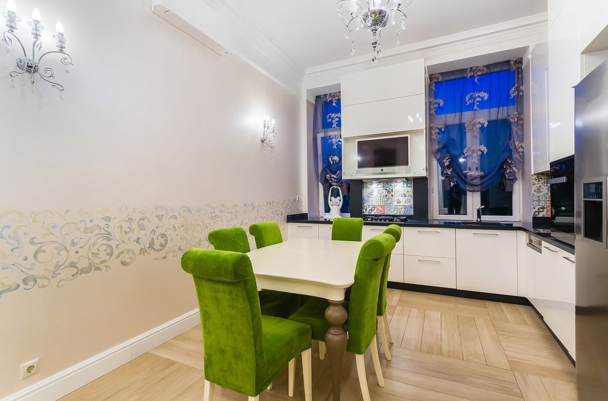Крашеные стены в кухне фото