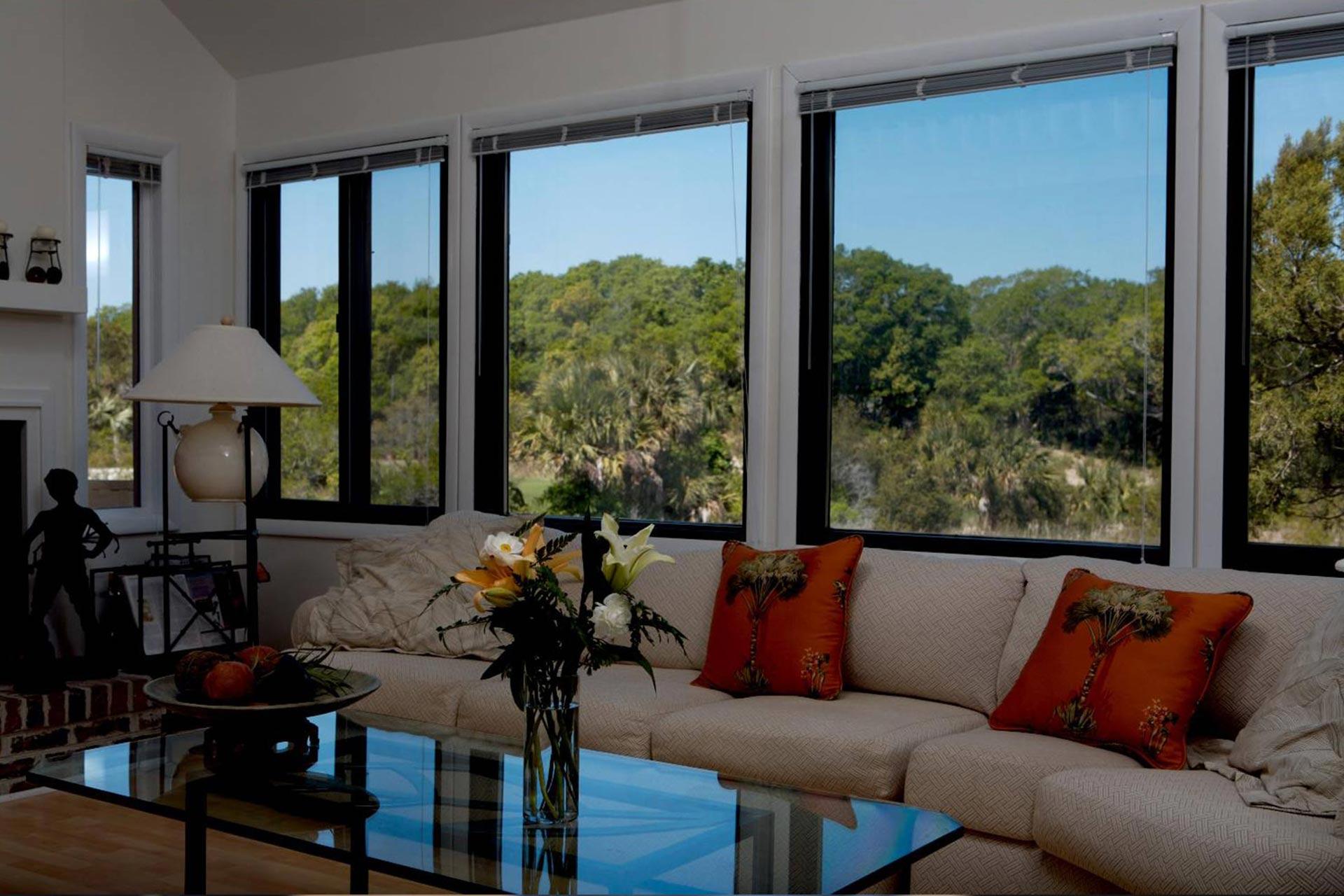 Тонированные окна в гостиной