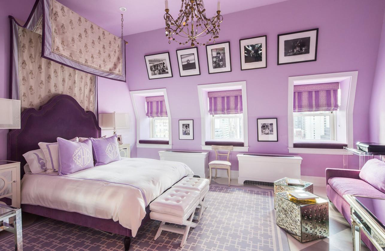 Сиреневые стены в комнате