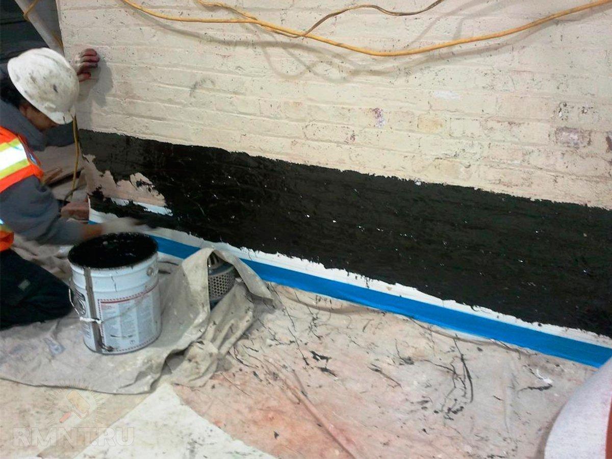 Гидроизоляция стен мастикой