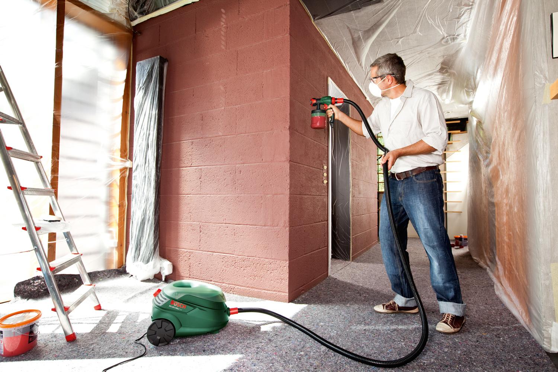 Покраска стен краскопульта