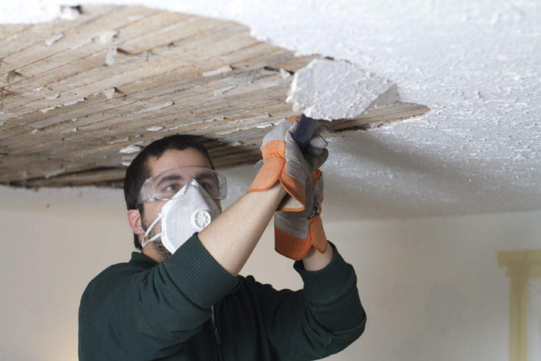 Демонтаж краски с потолка