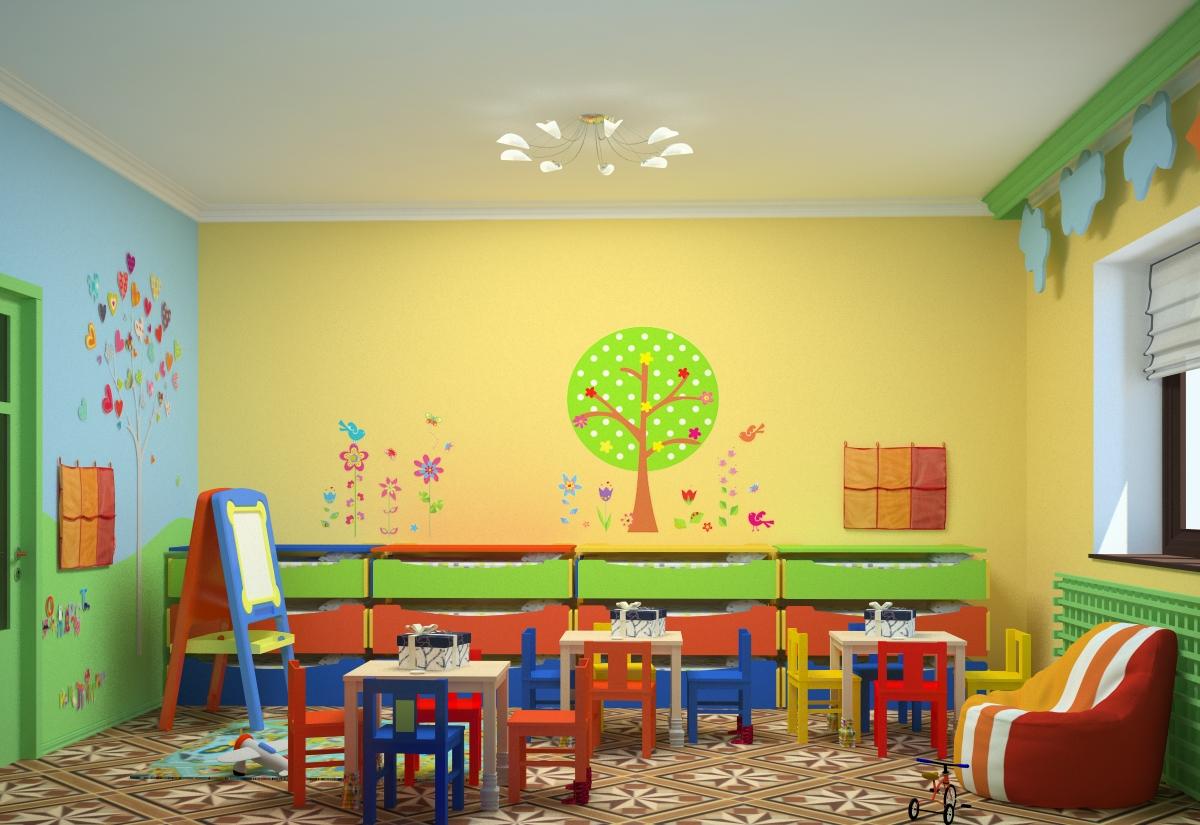 Крашенные стены в детском саду