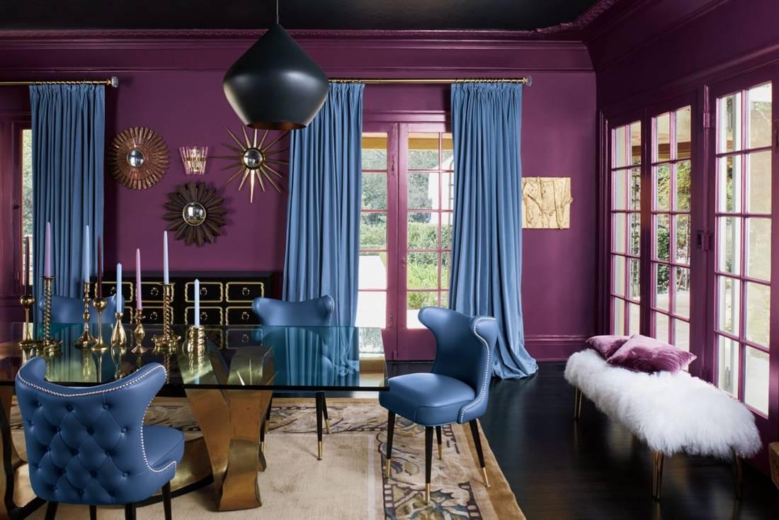 Сочетание бирюзового и фиолетового
