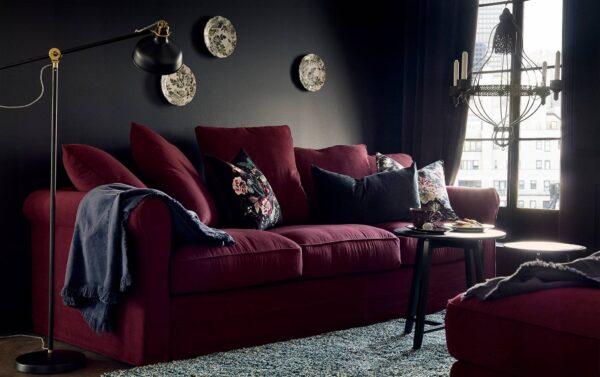 Фото бордового дивана